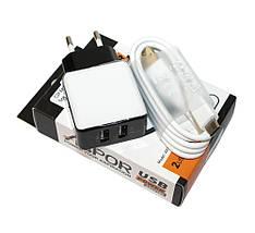 Зарядний пристрій для телефону Aspor, Black, 2xUSB, 2.1 A, кабель USB Type C (A811), зарядка+шнур тайп сі, фото 3
