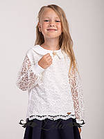 Блуза со стильной брошкой на горловине .Размер 128-146.
