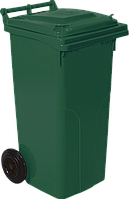 Мусорный контейнер Алеана 540 х 950 х 480 мм на колесах с ручкой 120 л Зеленый