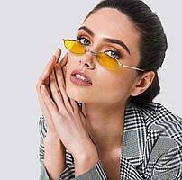 Женские узкие овальные солнцезащитные очки в разных цветах 21791tezOh