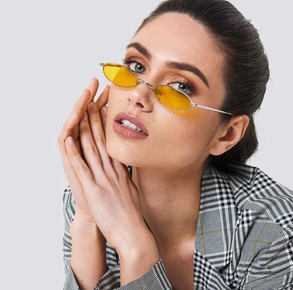Женские узкие овальные солнцезащитные очки в разных цветах 21791tezOh, фото 1
