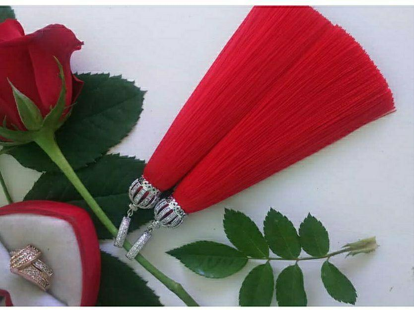 Красные серьги-кисти ручной работы с фианитами 33tezS
