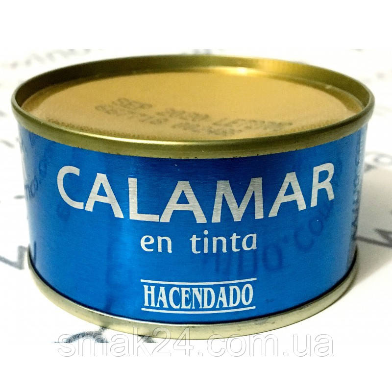 Кальмар кусочками без глютена в собственном соку (чернилах) Hacendado Calamar en tinta80 г Испания