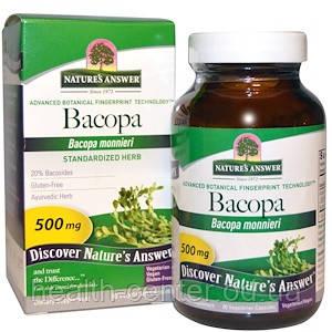 Бакопа 500 мг 90 капс для мозга памяти внимания сна Nature's Answer USA