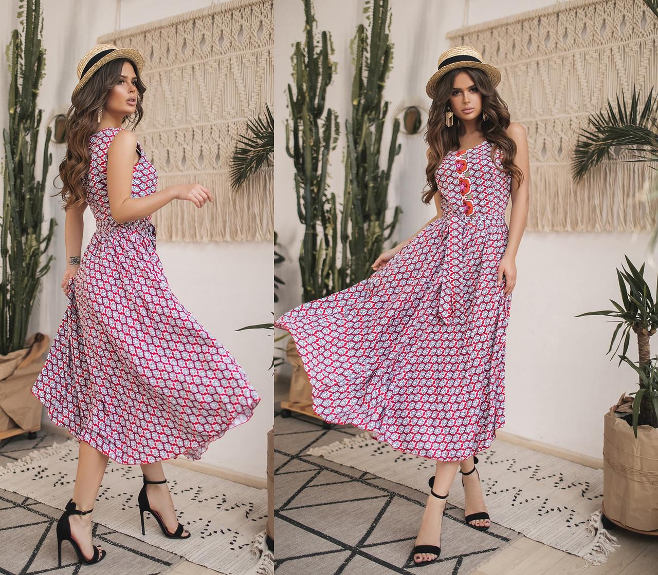 Женское летнее платье без рукавов.Размеры:42-46.+Цвета