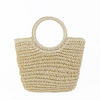 Женская средняя плетеная сумочка бежевого цвета, фото 1
