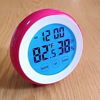 Электронные часы-будильник + термометр гигрометр, сенсорный экран, магнитное крепление, фото 1