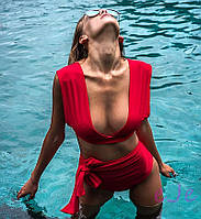 Раздельный женский купальник красного цвета с высокой посадкой р 42-46