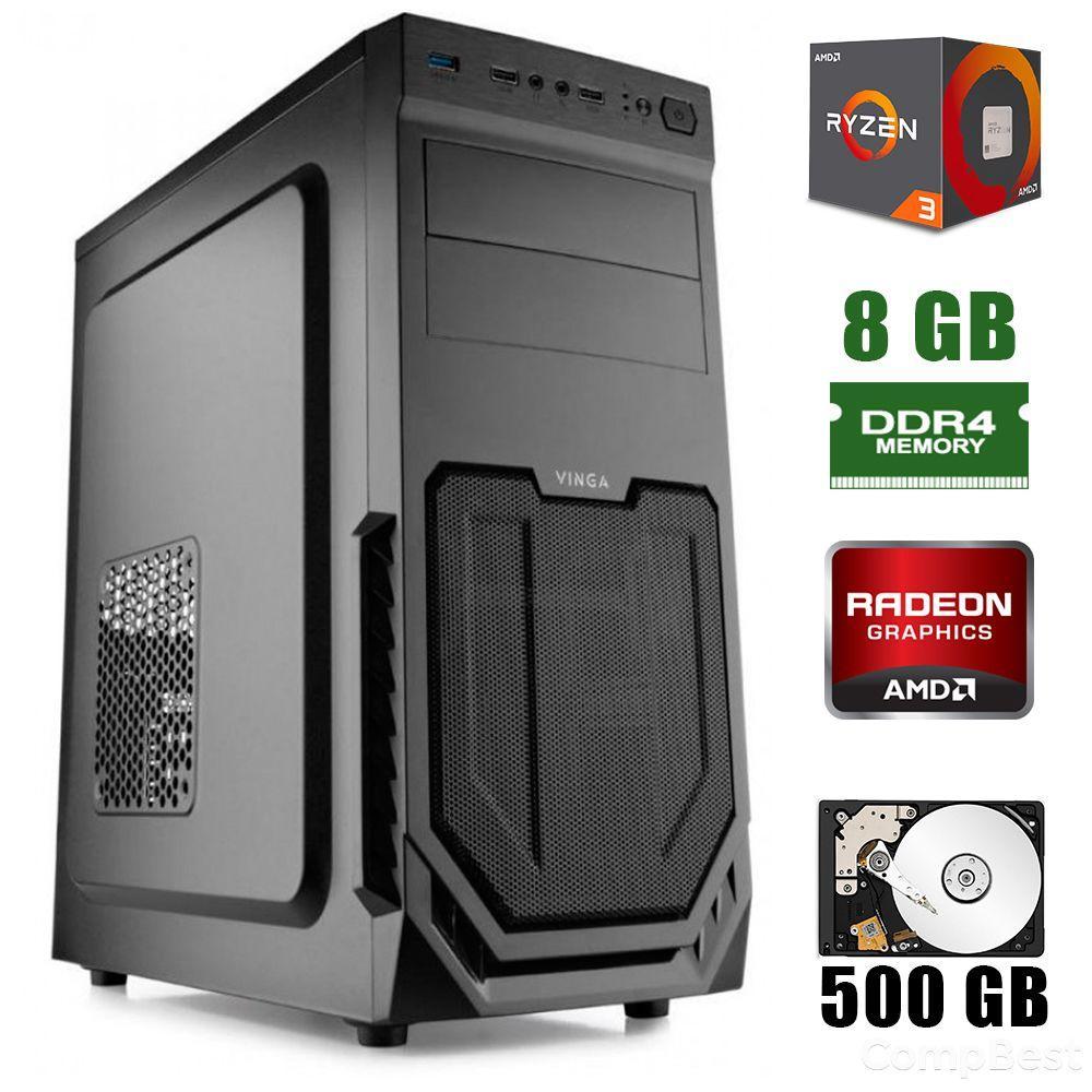 Vinga CS211B / AMD Ryzen™ 3 2200G (4 ядра по 3.5 - 3.7GHz) / 8GB DDR4 / 500GB HDD / 400W