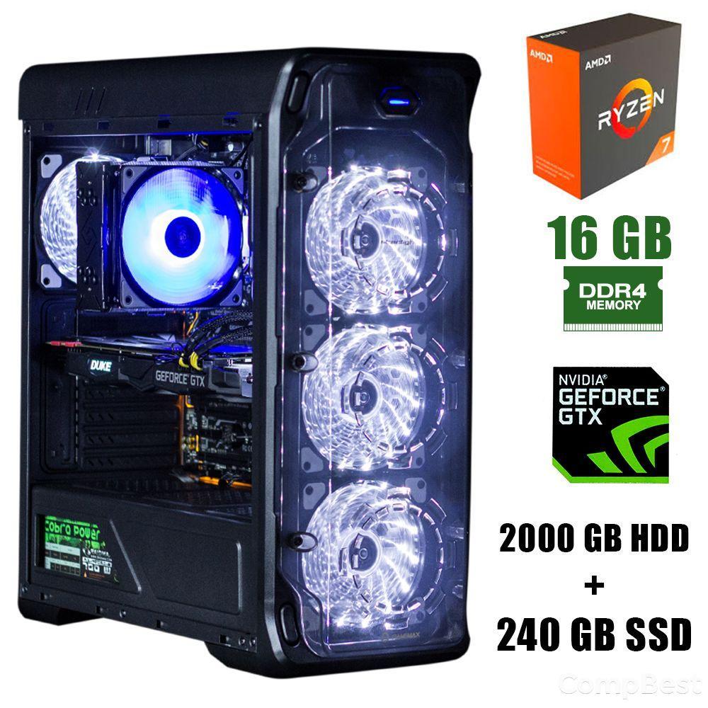 GameMax StarLight B-White / AMD Ryzen 7 2700 (8(16)ядер по 3.2 - 4.1GHz) / 16GB DDR4 / 2000GB HDD+240GB SSD / GeForce GTX 1660 6Gb / 500W