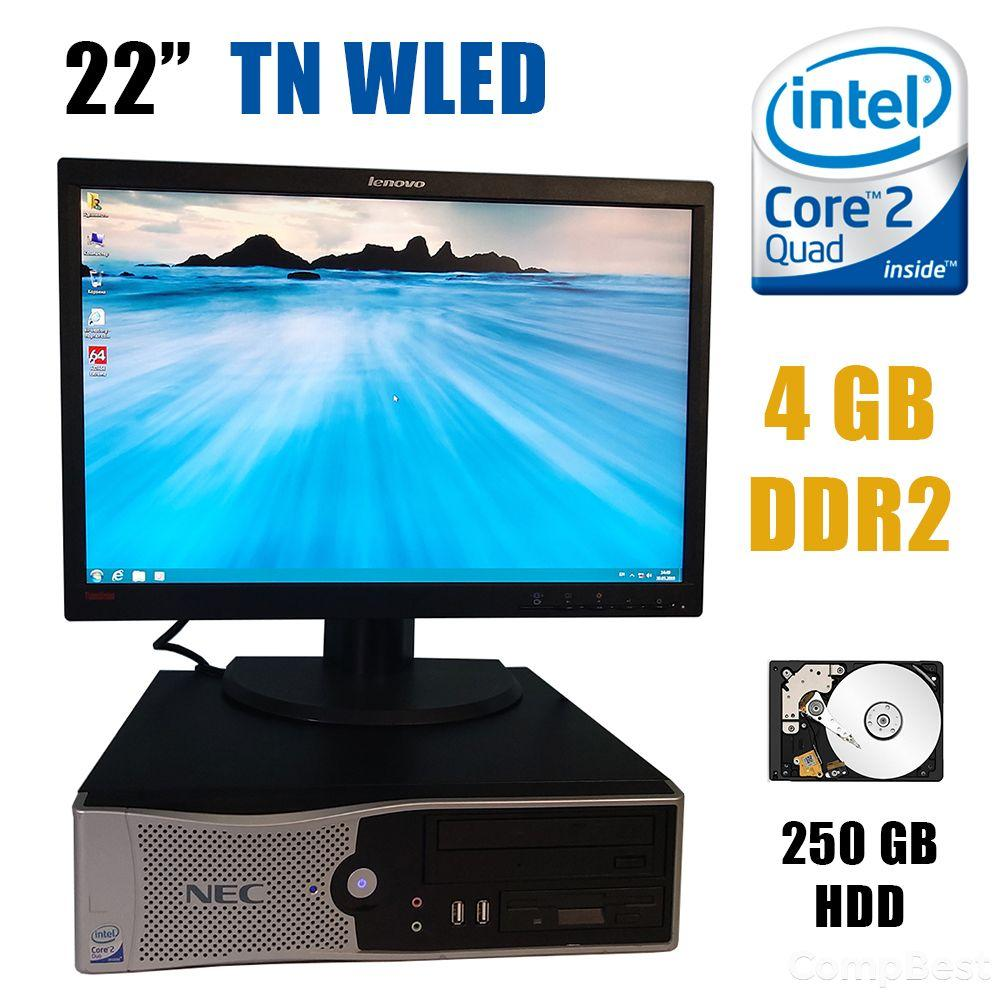 "NEC Powermate F-ML470 SFF / Intel Core2Quad Q6600 (4 ядра по 2.4GHz) / 4 GB DDR2 / 250 GB HDD + Монитор Lenovo LT2252pwA / 22"" (1680x1050) 16:10 TN"