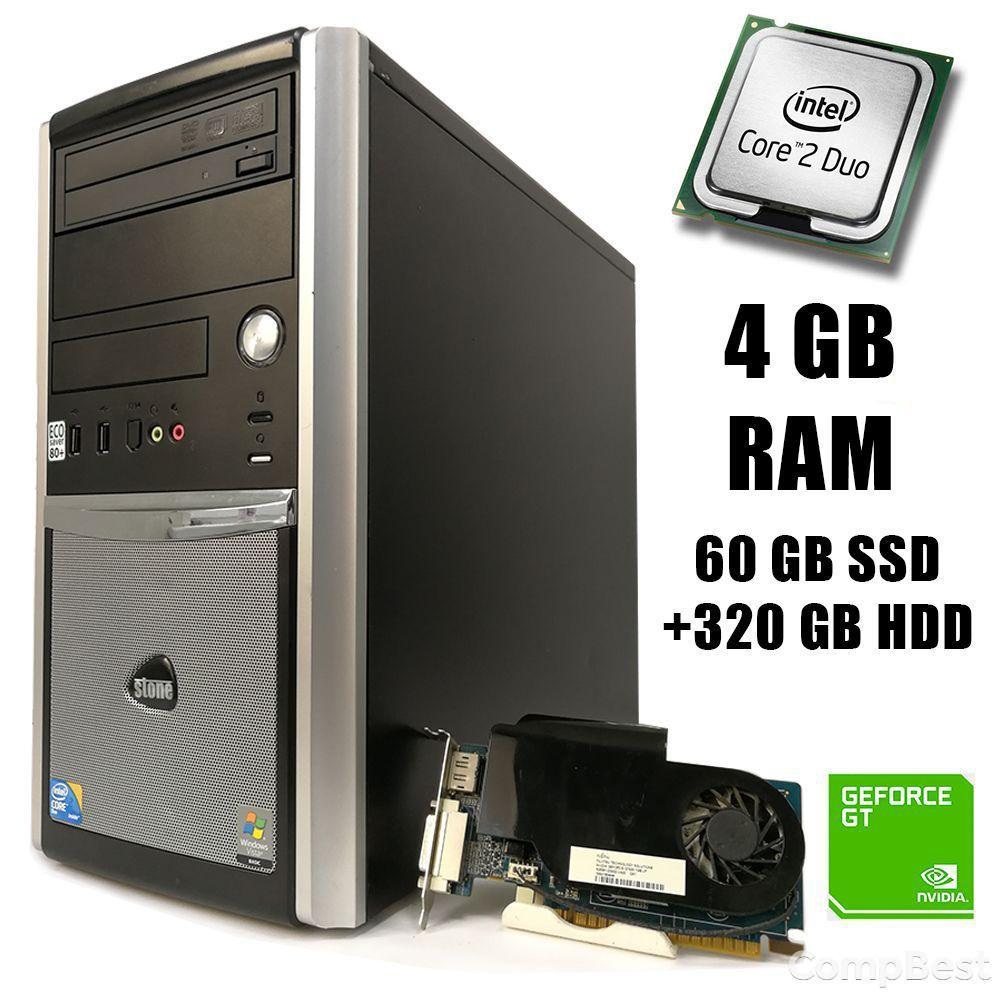 EuroCom ATX / Intel Core2 Duo E8400 (2 ядра по 3.00GHz) / 4GB DDR2 / 500 GB HDD / GeForce GT 420 1GB DDR3 64bit / DP, DVI