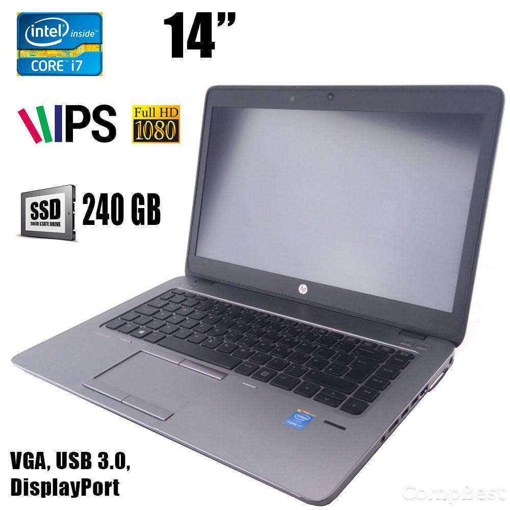 "HP EliteBook 840 G2 / 14"" (1920x1080) IPS / Intel Core i7-5500U (2(4)ядрп по 2.4 - 3.0GHz) / 8GB DDR3 / 240GB SSD / VGA, DisplayPort, USB, Webcam"