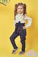 Детские брюки с поясом и стразами №9005 (р.110-152) серый, фото 1