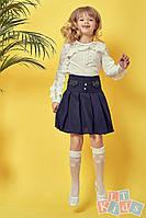 Детская школьная юбка №9006 (р.110-152) синий, фото 1