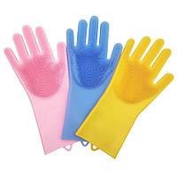 Силиконовые перчатки для мытья Magic Silicone Gloves magic brush с ворсом ( в коробке)