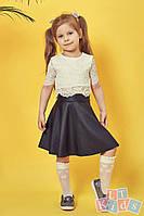 Детский гипюровый топ №9022 (р.110-152) молочный, фото 1
