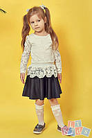 Детская гипюровая блузка №9001 (р.110-152) молочный, фото 1