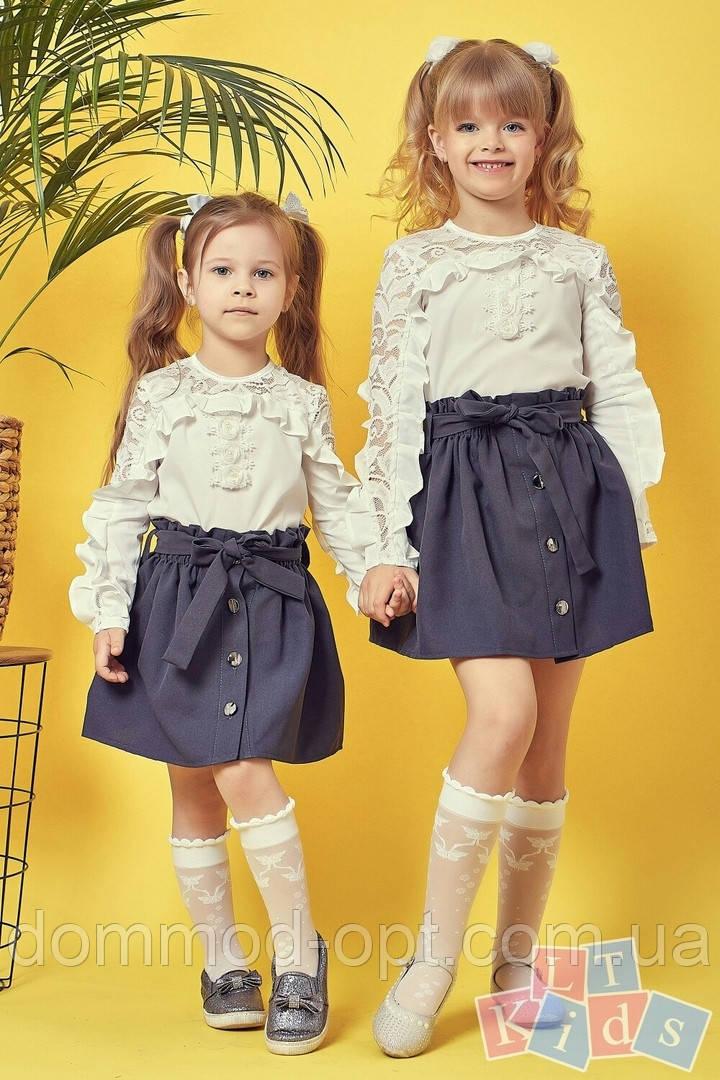 Детская школьная юбка №9004 (р.110-152) серый