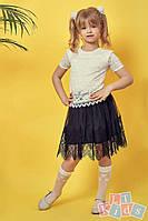 Детская юбка из сетки и гипюра №9015 (р.110-152) черный, фото 1