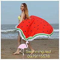 Коврик пляжное покрывало Арбуз подстилка микрофибра махра круглое полотенце 150 см с бахромой