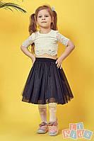 Детский гипюровый топ №9022 (р.98-152) молочный, фото 1