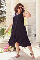 Женское летнее платье из льна №3219 (р.48-54) темно-синий, фото 1