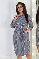 Женское летнее платье-рубашка в полоску №3192 (р.48-54) бело-синий, фото 1