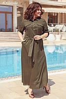 Женское летнее платье из льна №3194 (р.48-54) хаки, фото 1