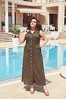 Женское летнее платье из льна №3193 (р.48-54) хаки, фото 1