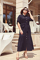 Женское летнее платье из льна №3195 (р.48-54) тёмно-синий, фото 1