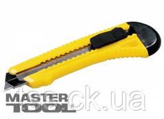 MasterTool  Нож 18 мм пластиковый с металлической направляющей  кнопочный фиксатор, Арт.: 17-0528