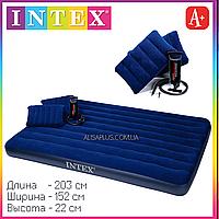 Матрац с насосом и подушками Intex 68765 двуспальный велюровый надувной 203х152х22см