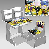 "Гр Парта школьная ЛДСП ПШ 032 ""Бэтмен"" (1), цвет титан (парта+1 стул), 690*450"
