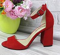 Красные замшевые босоножки на каблуке, фото 1