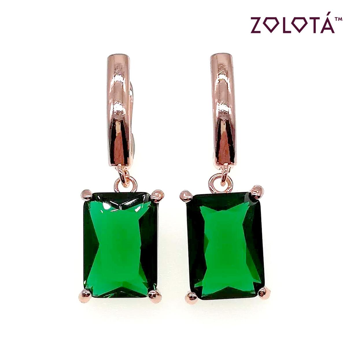 Серьги Zolota с зелеными фианитами (куб. цирконием), из медицинского золота, в позолоте, ЗЛ00406 (1)