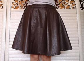Стильная кожаная юбка солнце клеш, Большие размеры