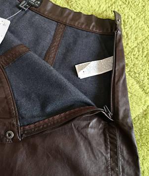 Стильная кожаная юбка солнце клеш, Большие размеры, фото 2