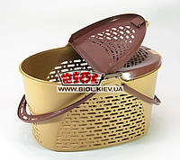 Корзина пластиковая для пикника 39х28х22см (цвет- бежево-коричневый) Senyayla (Турция) SE-2330, фото 1