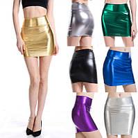Стильная голографическая облегающая мини юбка, М, L, ХL, ХХL