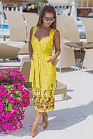 """Льняное летнее платье-сарафан """"ЛИАНА"""" с вышивкой и карманами (3 цвета)"""