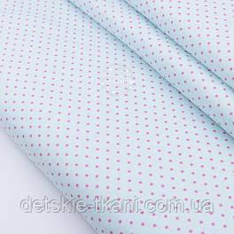 """Сатин ткань """"Горошек 3 мм"""" малиновый на светло-мятном, № 2311с"""