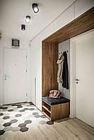 Шкаф в прихожую белый с элементами дерева
