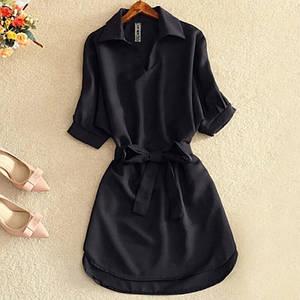 Платье женское с воротником - рубашкой летнее свободное с поясом мини 40 42 44 46