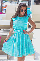 """Приталенное летнее платье без рукавов """"РОМАШКА"""" с вышивкой и оборками (2 цвета)"""
