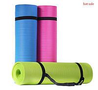 Коврик-Мат для йоги и фитнеса из вспененного каучука OSPORT Premium NBR 1,5см с ручкой (MS 2608-3)