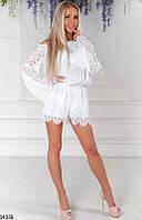 Женский гипюровый летний костюм с шортами в  3 цветах