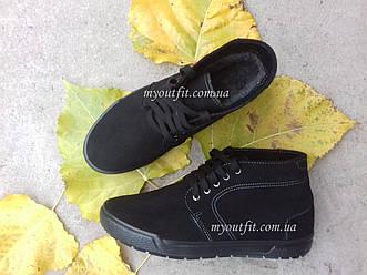 Зимние мужские ботинки утеплённые Чёрные