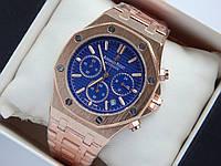 Кварцевые наручные часы Audemars Piguet (реплика) золотого цвета с синим циферблатом, хронограф, фото 1