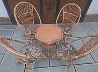 Мебель плетеная на 4 кресла и стол шестиугольный